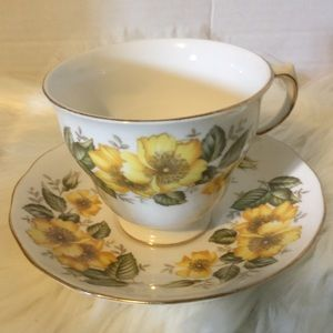 Royal Vale Yellow Flower Teacup And Saucer